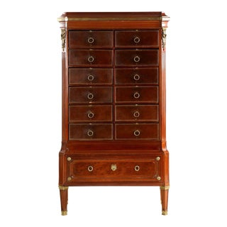 French Louis XVI Leather & Mahogany Cartonnier Chest of Drawers For Sale