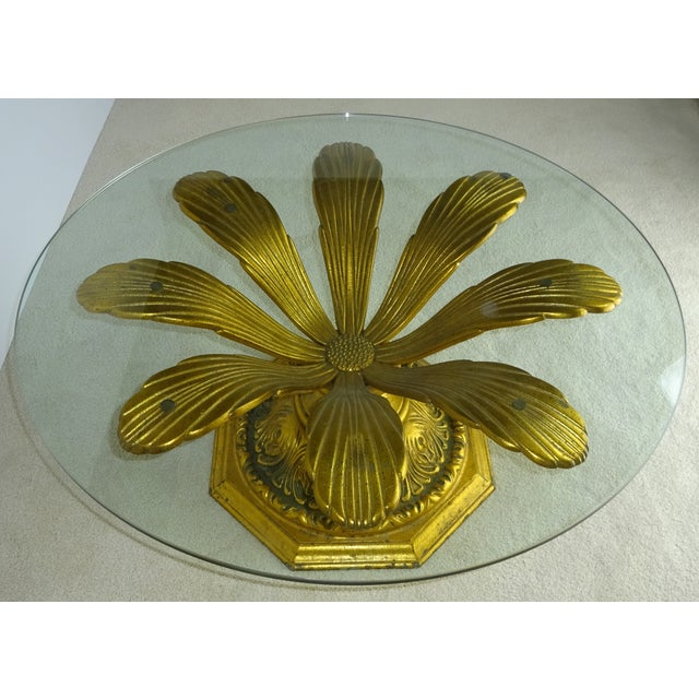 """Nicely cast gilt sunflower 3/8"""" thick glass top table. Table base is very well made and in great original condition as is..."""