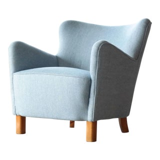 Fritz Hansen Danish Midcentury 1940s Easy Chair Variant of Model 1669 For Sale