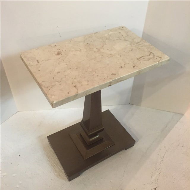 Vintage Cocktail/Cigar Table With Marble Top - Image 3 of 5