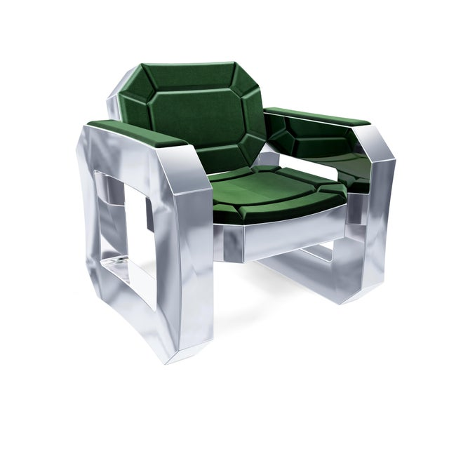 Green Facet Lounge Chair by Artist Troy Smith - Contemporary Design - Handmade Furniture For Sale - Image 8 of 8