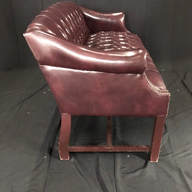 Leather British Chesterfield Burgundy Leather Bench Loveseat For Sale - Image 7 of 10