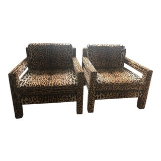 Vintage Mid-Century Modern Parson Leopard Chairs- a Pair For Sale