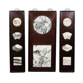 Chinese Marble Dream Stone in Rosewood Frame Panels - Set of 3 For Sale