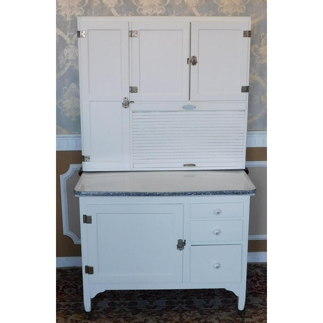 Antique Sellers Restored Painted White Hoosier Kitchen Cabinet C1890 For Sale - Image 13 of 13