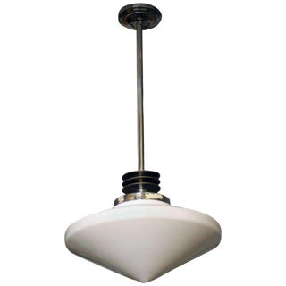 Streamline Ceiling Pendant with Glass Globe, Circa 1930 For Sale