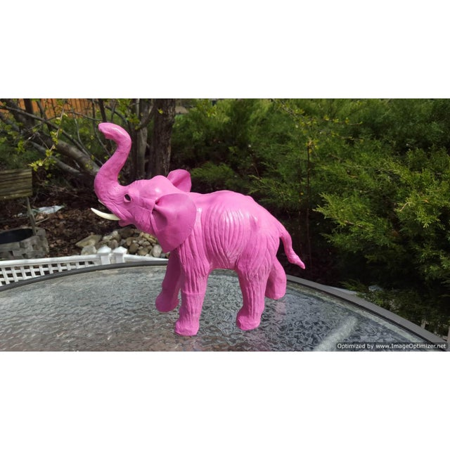 Handmade Paper Mache Pink Leather Elephant - Image 3 of 4
