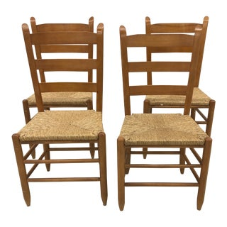Vintage French Gio Ponti Style Ladder Back Rush Seat Dining Chairs - Set of 4 For Sale