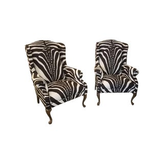 Vintage Zebra Wingback Chairs - A Pair