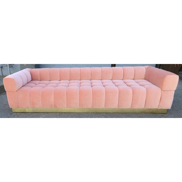 Not Yet Made - Made To Order Custom Tufted Pink Velvet Sofa With Brass Base For Sale - Image 5 of 9