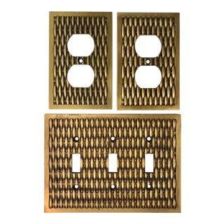 Vintage Brass Basketweave Decorative Hardware For Sale