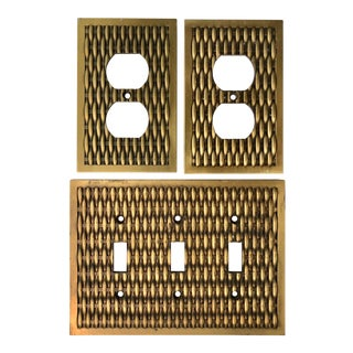 Vintage Brass Basketweave Hardware - Set of 3 For Sale