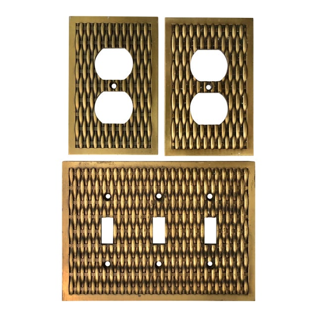 Vintage Brass Basketweave Hardware - Set of 3 For Sale