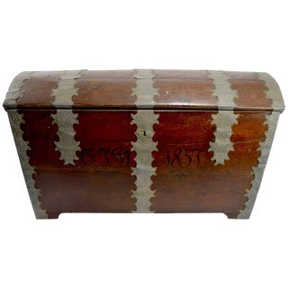 Large Dome Top Trunk, Dated 1857 For Sale