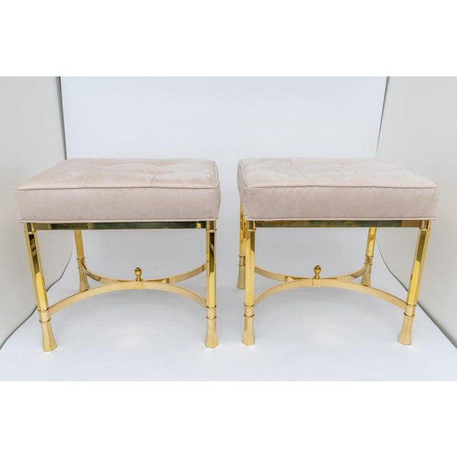 Mastercraft Vintage Mastercraft Benches Stools Brass and Ultrasuede - a Pair For Sale - Image 4 of 13