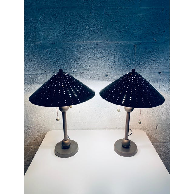 Postmodern Brass Desk or Table Lamps - a Pair For Sale - Image 12 of 13