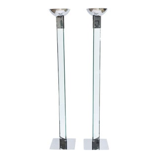 Pair of Polished Chrome and Glass Floor Lamps, Manner of Fontana Arte For Sale