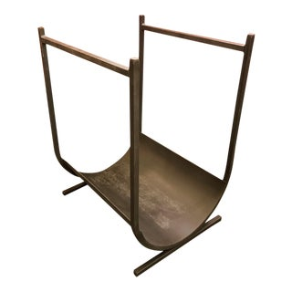1970s Architectural Iron Firewood Holder For Sale