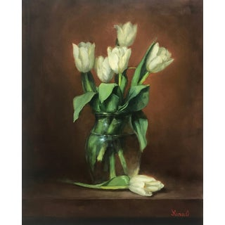 """""""White Tulips"""" Original Still Life Flowers Oil Painting For Sale"""