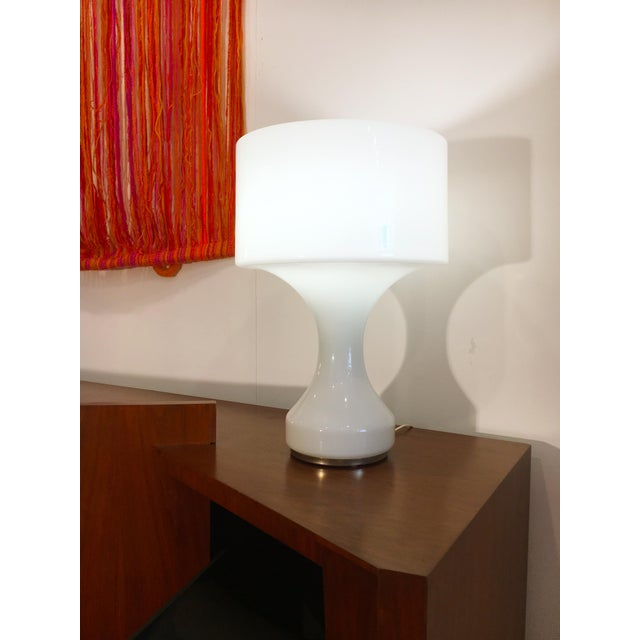 1960s White Opal Crystal Hand Blown Glass Enrico Capuzzo Sebenica Lamp for Vistosi, Circa 1965 For Sale - Image 5 of 6