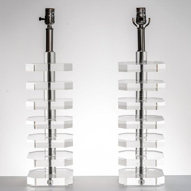 Pair of Mid-Century Stacked Lucite Table Lamps, Nickel Finish Hardware.