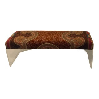Gianni Versace Velvet Lucite Custom Made Bench For Sale