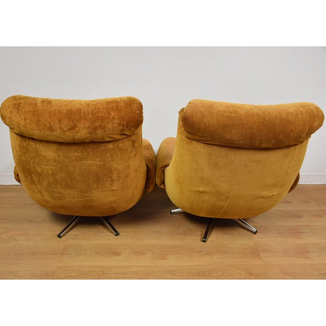 Orange Lounge Chairs & Ottomans - a Pair - Image 5 of 10