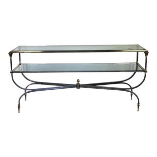 Hollywood Regency 2 Tier Chrome and Brass Glass Top Console Table For Sale