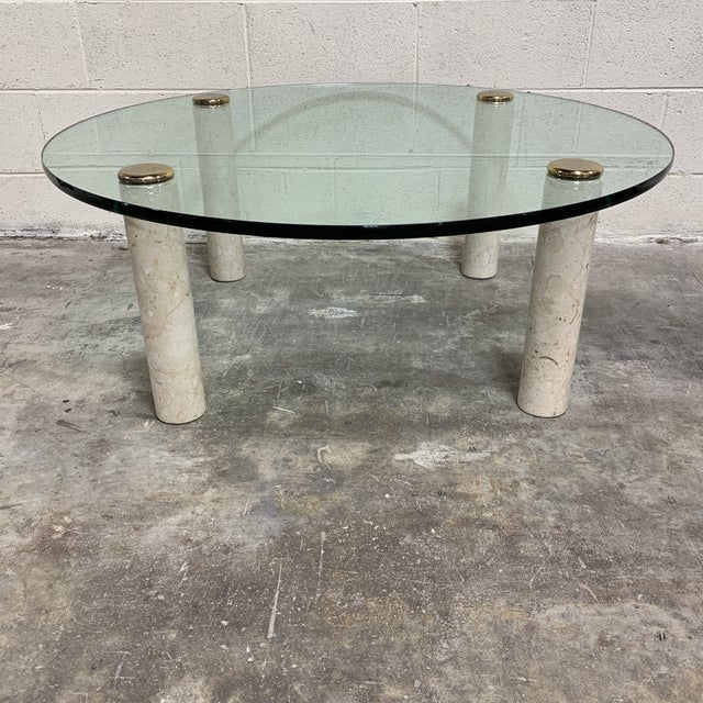White 1970s Pace Collection Marble & Glass Coffee Table For Sale - Image 8 of 10