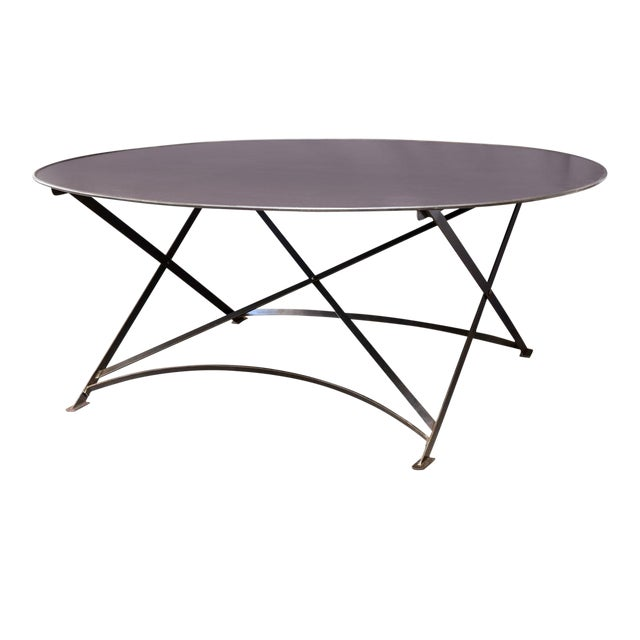 Oval Hand-Forged Steel Table For Sale