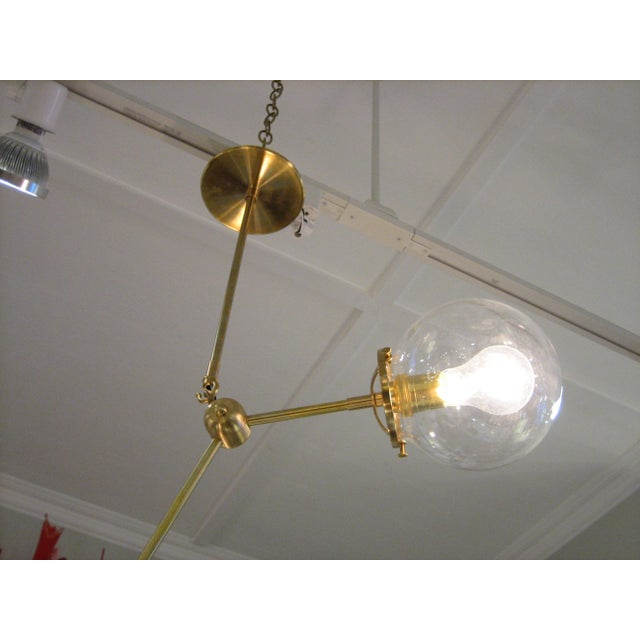 Contemporary Custom Brass Three Globe Chandelier For Sale - Image 3 of 7