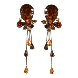 Francoise Montague Paris Rhinestone Dangle Earrings Brown and Amber For Sale