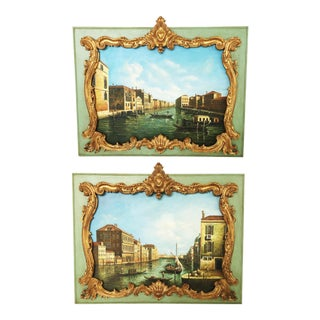 Stunning Pair of Overdoor Paintings For Sale