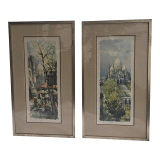Vintage French Parisian Street Scenes Prints - a Pair For Sale