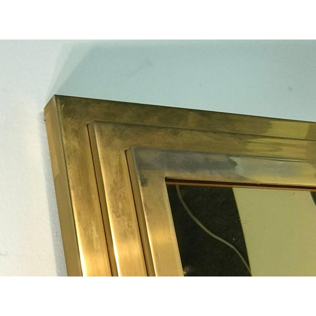1970s Modern Square Gold Tone Framed Metal Mirror For Sale - Image 5 of 10