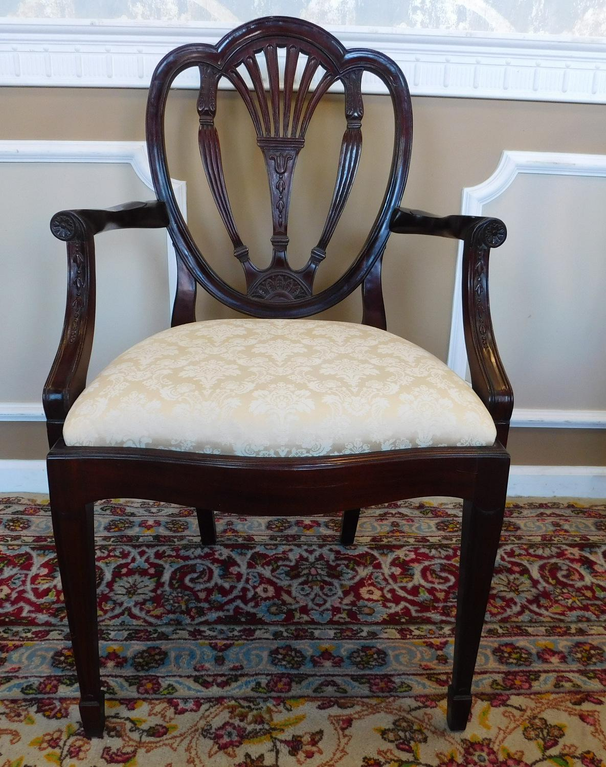 Hickory White Shield Back Mahogany Sheraton Style Dining Room Chairs   Set  Of 6 For Sale