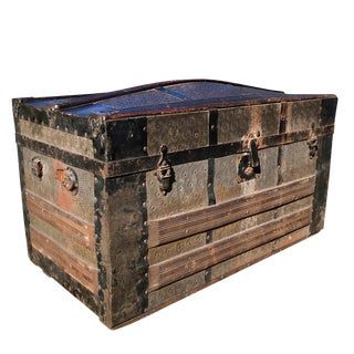 Antique Victorian Dometop Steamer Trunk Chest For Sale