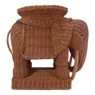 Vintage Italian Wicker Elephant Side Table Garden Stool Palm Beach
