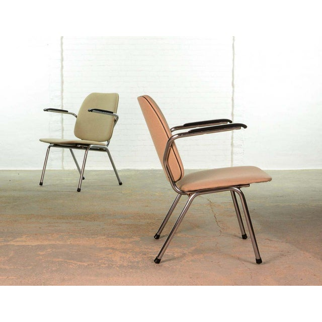 1960s Mid-Century Dutch Design Armchairs on a Chrome Steel Tubular Frame by Martin de Wit for Gispen, 1960s For Sale - Image 5 of 7