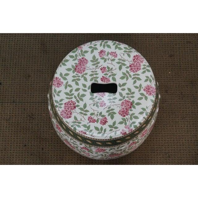 Vintage Floral Pattern Pottery Garden Seat - Image 3 of 10