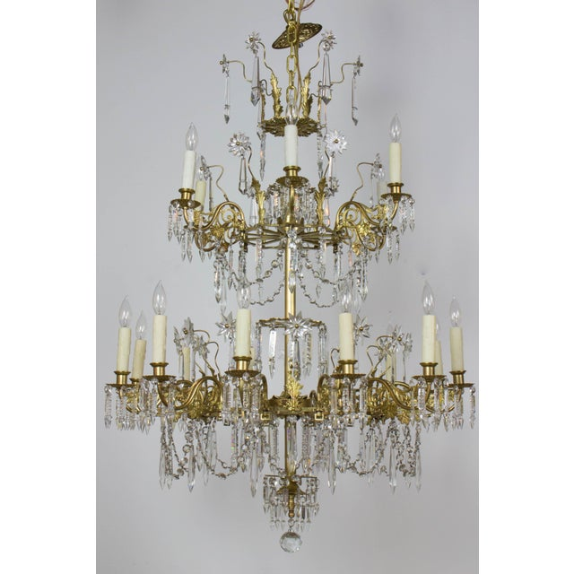 Victorian Brass and Crystal Eighteen Light Chandelier For Sale - Image 11 of 11