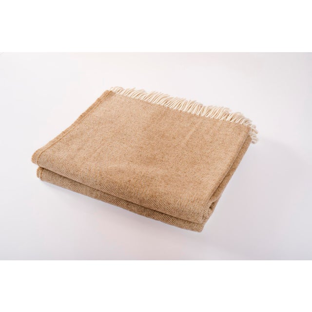 2010s Contemporary Merino Wool Collection Sepia Throw For Sale - Image 5 of 5