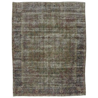 Late 19th Century Antique Persian Kerman Distressed Rug - 8′10″ × 11′3″ For Sale