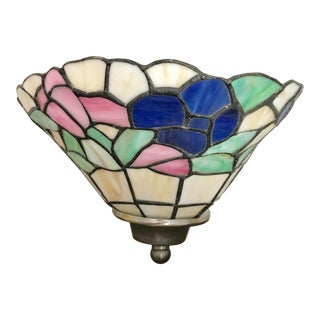 Vintage Floral Stained Glass Wall Sconce For Sale