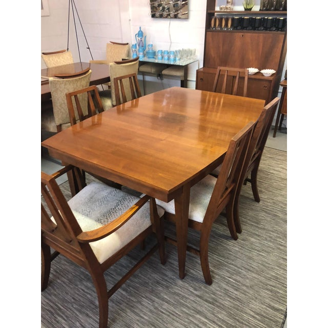 Fabric Mid Century Modern Dining Table and 6 Chairs in the Brasilia Style For Sale - Image 7 of 8