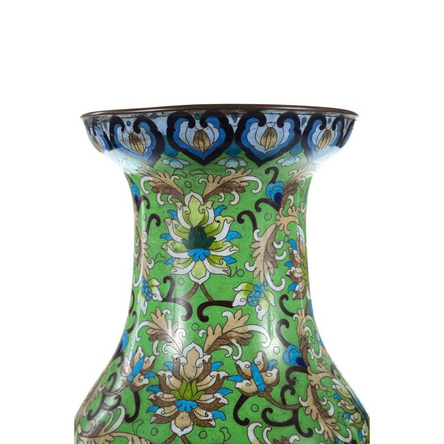 Mid 19th Century Antique Chinese Green Cloisonné Vases - a Pair For Sale - Image 5 of 9