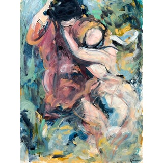 Romance on the Swing, Oil on Paper 30 X 23 For Sale