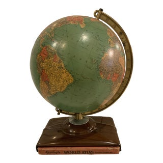 1940s Replogle Light Up Globe With World Atlas For Sale