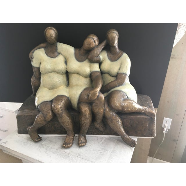 """Friends"" painted bronze by Nnamdi Okonkwo on iron base in excellent condition"
