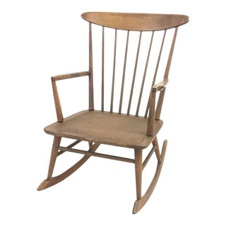 Moving Sale! Mid-Century Modern Danish Style Wood Vintage Rocking Chair For Sale